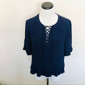 Madewell Sunpleat Lace Up Top in Navy